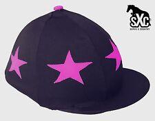 CUSTOM RIDING HAT SILK SKULL CAP COVER NAVY WITH CERISE STARS POMPOM SXC