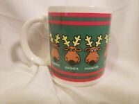 Vintage 1986 Houston Foods Christmas Mug All Santa's Reindeers W/Names Rudolph