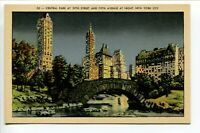 Central Park at 59th Street & 5th Ave at night No 50 New York Linen Unposted