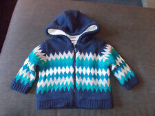 M&S Faux Fur Lined Knitted Zipper Fasten Hooded Jacket 3-6m 69cm Navy Mix BNWT