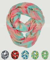 Wide Chevron Print Spring Infinity Scarf Block Circle Loop Wrap 3 Color Soft