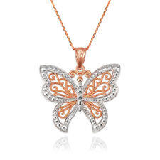 Rose Gold Filigree Butterfly Midsize Pendant Necklace