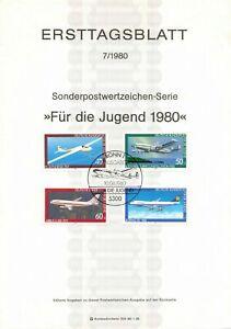 Germany ETB Ersttagsblatt 7/1980 Fur die Jugend 1980 Luftfahrt Aircraft BONN 1