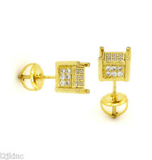 Mens 14k Gold Plated Cz Micro Pave Screw Back Iced Out 3 Row Earring 08SmootCube