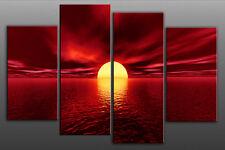 Extra Large Red Toned Sunset Sea Sun Canvas Seascape 5ft wide 4 panel multi set