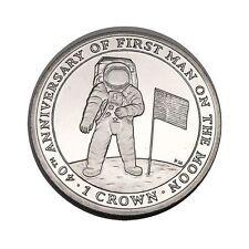 elf IOM Isle of Man 1 Crown 2009  Astronaut Flag   Moon Landing 40th Proof