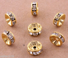 100 Pcs 8mm Gold Plated Crystal Mosaic Spacer Beads Charms Jewelry Findings