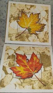"""Pair of autumn maple leaves art prints, Jon Wright, 9"""" x 9"""" square, Penny Lane P"""
