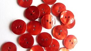 AKOYA SHELL (MOTHER OF PEARL) BUTTONS RED 15 mm