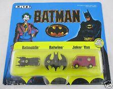 Early Batman Set Ertl. Diecast Micro Batmobile Batwing Joker Van C1989. 2498