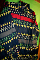 Cut & Dry Men's African Tribal Style Long Sleeve Shirt Size Large # 183