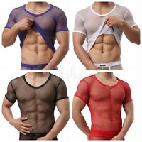 Mens Mesh Vest See-through T-Shirt Tank Top V-Neck Undershirt Clubwear Costume