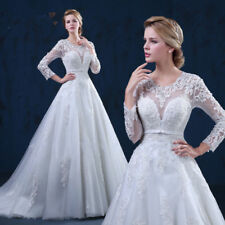 New White/Ivory Lace Wedding Dress Bridal Gown Custom Size:6 8 10 12 14 16 18 ++