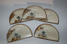 Set of 5 dinner plates or serving dishes, Seto region, Oribe-style, Japan