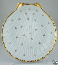 LIMOGES PORCELAIN WHITE GOLD FLUTED SHELL DISH/BOWL FRANCE