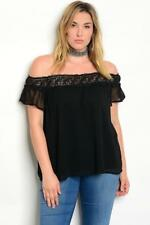 NEW..Plus Size Black Off the Shoulder Fully Lined Top with Lace Trim..SZ20/3xl