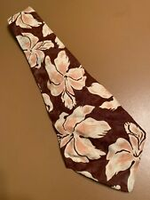 Vtg 40s 1940s Regal Hawaiian Rayon Swing Tie Floral Wide Short Atomic 47� 4.5�