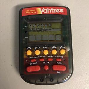Tested Yahtzee Clear Smoke Electronic Travel Handhelds Game 4511 MB Hasbro 1995