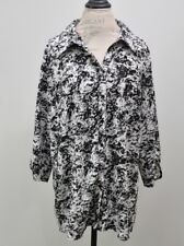 Laura Scott Size 20/22W Button up Blouse Black White Print Women's Plus Size Top