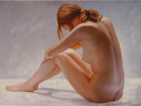 ZOPT920 sitting naked girl portrait hand painted oil painting art on CANVAS