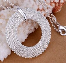 925 Sterling Silver Large Round Classic Pendant Necklace Link Chain