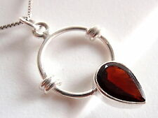 Faceted Garnet Pendant 925 Sterling Silver New Rope Style Accents Hoop Round