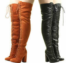 New Ladies Womens Over The Knee Sexy Tan Lace Up High Block Heels Wide Boots