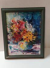 Original  Mollie Bergman painting on Canvas Flowers in Vase 10 1/4 x 8 1/4