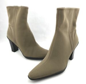 Apostrophe Naomi Boots Womens Size 7M Brown Ankle Zip Stacked Heel New NWOB