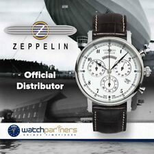 Zeppelin Nordstern Quartz Ladies Chrono watch 36mm case 5ATM White dial 7577-1