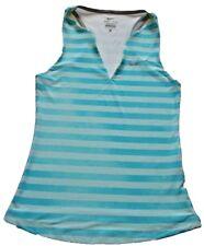 NIKE Dri-Fit Womens Striped Athletic Tank Top Blue Tennis XS Workout V-Neck