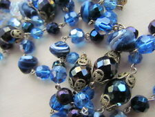 "57"" Blue AB Murano Venetian Vintage Beads Necklace lot Glass Crystal Art Deco"