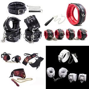 PU Leather Bondage Set Padded Wrist Ankle Cuffs Neck Collar Retraint Chain BDSM