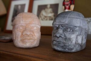 Set of Two Pre-Columbian Handmade Olmec Head Sculptures