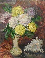 Original Antique Oil Painting Flowers, Vintage Floral Still Life by G. Sokolova