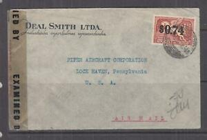 URUGUAY,  19444 Airmail censored cover, 74c. on 1p.12, Montevideo to USA