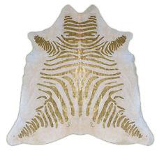 Metallic Zebra Print Rodeo Cowhide Rug