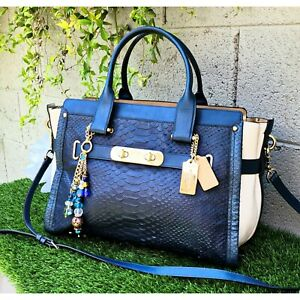 RARE XL Coach 35318 Swagger 37 exotic colorblock python purse satchel handbag