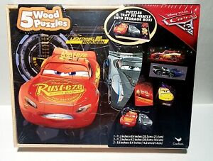 NEW: Disney Pixar Cars 3 Lightning McQueen 5 Wood Puzzles With Storage Box