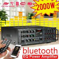 Pro 2000W EQ Bluetooth Amplifier Home HiFi Stereo 2Ch AMP FM SD + Remote Control