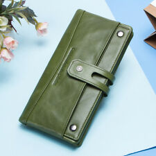 Women's Genuine Leather Wallet Long Trifold 22 Credit Card Holder Clutch Purse