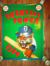 "Detroit Tigers 1984 ""Purrrrrr  Power"" Poster  19"" x 26"" & Pin -  Mint Condition"