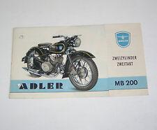 Prospekt / Broschüre Adler MB 200 !