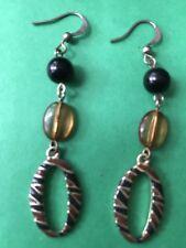 Black Gold Color Beaded Hoop Dangle Earring Wire Pierced Fashion Jewelry