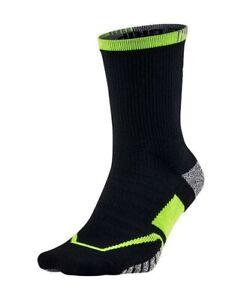 NIKE NikeGrip Grip Elite Black Volt Yellow Crew Tennis Socks Mens S Youth 3y-5y