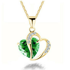 Fashion Womens Heart Green Crystal Rhinestone Gold Chain Pendant Necklace NEW