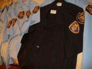 8 Vintage SENTRY Uniform Shirts Police Dark & Light Blue SS LS Zippers 16.5 USA