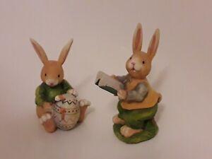 Zwei Hasen mit Buch / Ei Osterei Ostern Osterdeko