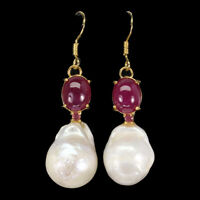 Oval Red Ruby 10x8mm 14K Yellow Gold Plate Pearl 925 Sterling Silver Earrings
