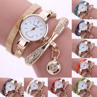 Casual Women's Fashion Ladies Faux Leather Rhinestone Analog Quartz Wrist Watch